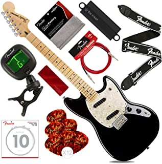 Fender 6 String Mustang, Maple Fingerboard, Black with Tuner, Strap, Massaging Strap Attachment, Strings, Picks, Cable & Cloth Deluxe Bundle