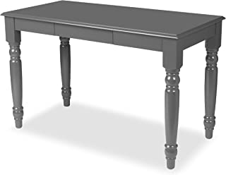 Kate and Laurel Turin Wood Writing Table and Computer Desk with Drawer and Farmhouse Legs with Satin Gray