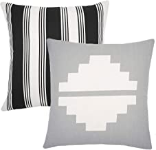 Woven Nook Decorative Throw Pillow Covers ONLY Set of 2 20 x 20'' for Couch, Sofa, or Bed Set of 2 20 x 20'' inch Modern Quality Design 100% Cotton Grey Aztec Black and White Stripe Mesa