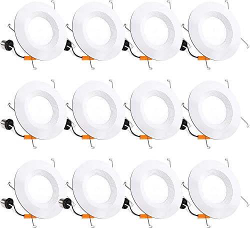 12 Pack 5/6 Inch LED Recessed Lighting, Baffle Trim, CRI90, 15W=100W, 1100lm, 5000K Daylight White, Dimmable Recessed...