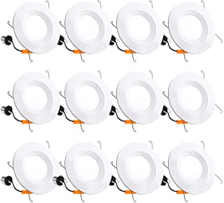 12 Pack 5/6 Inch LED Recessed Lighting, Baffle Trim, CRI90, 15W=100W, 1100lm, 3000K Warm White, Dimmable Recessed Lighting...