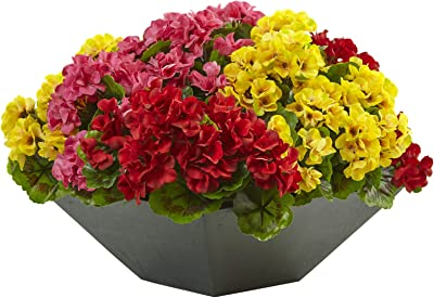 Artificial Flowers -Geranium with Black Planter Artificial Plant