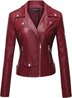 Tanming Women's Long Sleeve Zipper Fuax Leather Jacket Coat