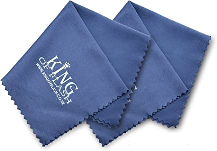 King of Flash 2 x Blue Superfine Microfiber Cleaning Cloths For Mobile Phones, Glasses, Tablets, TV, Sunglasses, Screens, iPads, Camera Lens Cleaners