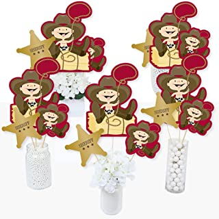 Little Cowboy - Western Baby Shower or Birthday Party Centerpiece Sticks - Table Toppers - Set of 15