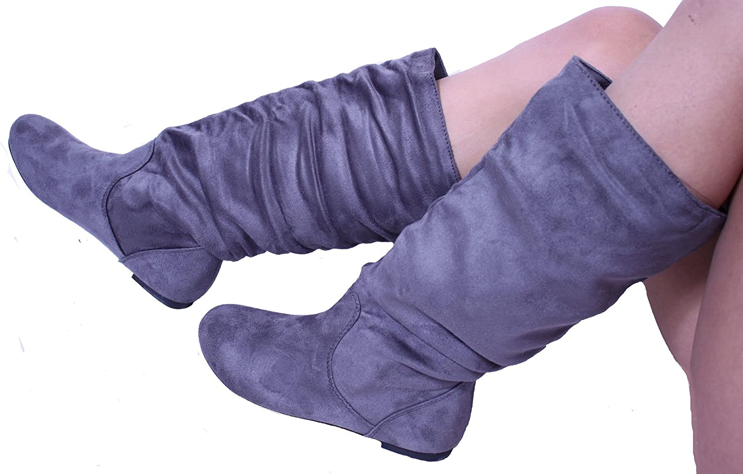 Women's Fashion Knee-High Grey Suede Material Boots -048