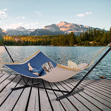 Patio Watcher 11 Feet Quilted Fabric Hammock with Curved-Bar Bamboo and Detachable Pillow, Double Hammock Perfect forOutside