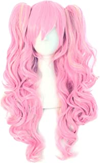 MapofBeauty Multi-color Lolita Long Curly Clip on Ponytails Cosplay Wig (Pink/Blonde)