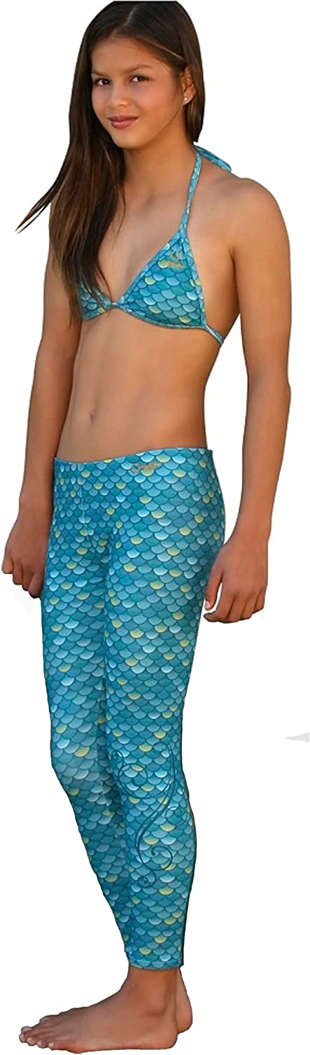 Mahina Mermaid Mahina Swimwear, Aqua Merswim Set Age 12. Bikini & Leggings