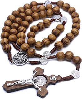 Wood Beads Rosary Necklace with Satin Pouch and Religious Bible Bookmark, Includes Holy INRI Catholic Christian Rosary Cro...