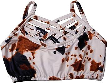 Girls Summer Basic Dance Crisscross Straps Tank Crop Tops Shirts