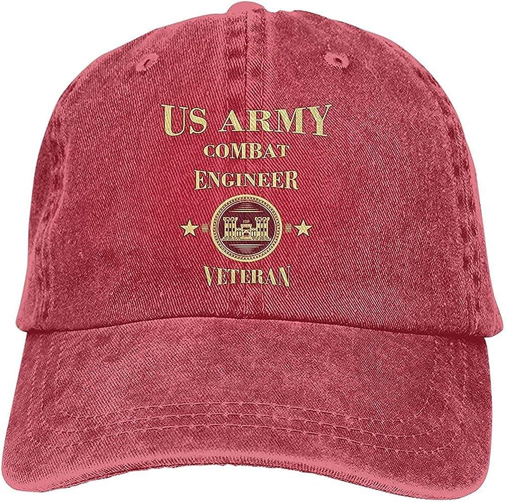 Classic Gorgeous Us Army Combat Engineer Hat Cotton Adjustable Retro Washable Cowboy Hat Unisex Baseball Cap Trucker Hat Black