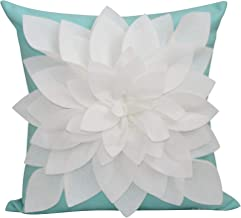 "Flower Pillow - Decorative Throw Pillow – 17"" Square Flower Pillows – 3D Effect with Dual Colors – Soft & Comfortable Fabric – Elegant Handmade – Perfect for Home (Mint/Ivory, Case Only)"