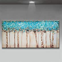 Handgeschilderd Olieverfschilderij - Eigentijds Mooi Abstract 100% Handgeschilderd Olieverfschilderij Paletmes Blauw Boomt...