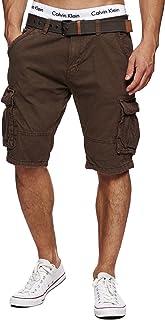 Indicode Homme Monroe Cargo ZA Short avec 6 Poches et Ceinture 100% Coton | Court Pantalon Bermuda été Homme Men Pants Pa...