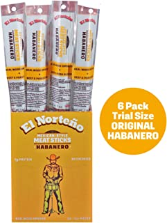 Habanero Meat Sticks - Low Carb, Low Sugar Beef Jerky Sticks by El Norteño - Smoked Pork & Beef Sticks Proudly Made in the USA (6 - 1oz Snack Sticks)