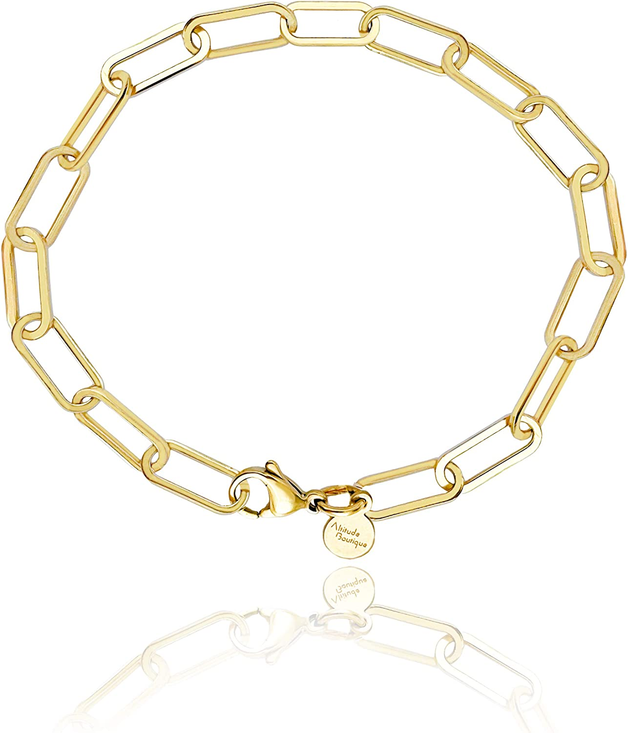 Altitude Boutique Paper Link Necklace Thick Chain 18k Gold Plated Bracelet For Women Thick Gold Chain Bracelet Necklace Set (Gold)