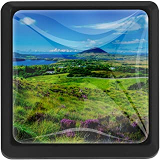 Landscape and Coast Connemara in Ireland Drawer Knobs Pull Handles Crystal Glass Cabinet Drawer Pulls for Home Kitchen Cupboard