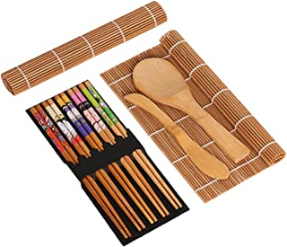 BESTONZON 15pcs kit de sushi de bambú que hace con 2 cintas