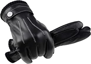 GSG Mens Driving Leather Gloves Winter Gloves for Men Touchscreen Motorcycle Dress Gloves Warm Spain Wool/Fur Liner