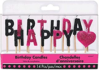 "Amscan 170306 Colorful Fabulous Happy Birthday Pick Candles, 3"", Pink,Black"
