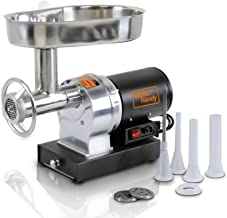 SuperHandy Meat Grinder Sausage Stuffer Electric #12 3/4 HP 720LBS Per/Hour 550 Watts Heavy Duty Commercial Stainless Steel Body Cutlery Blade Tray Grinding Plates & Stuffing Tubes Stomper Storage Box