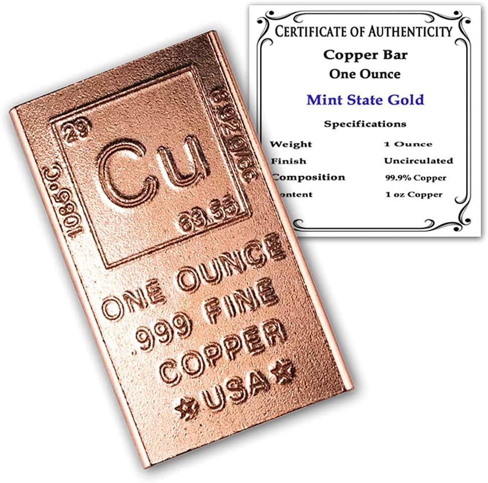 1 oz Copper Bar outlet Bullion - Design Certifi with 999 Pure It is very popular Chemistry