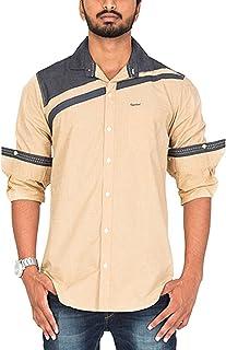 Rapphael Men's Cotton Shirts Full Sleeve (24A,Beige Color)