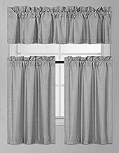 DiamondHome 3 Piece Faux Silk Blackout Kitchen Window Curtain Set 2 Tiers & 1 Valance Lined Thermal Blackout Drape Window Treatment (Light Gray)