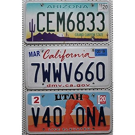 3 Usa Kennzeichen Als Set Nummernschilder Aus Arizona Utah Kalifornien Auto Metallschilder Us License Plates Lot Auto