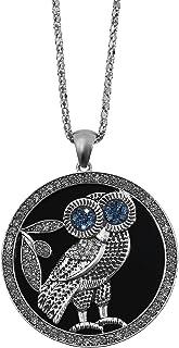 MOONSTONE Fashion Accessories for Women, Ladies Elegant Round Owl Cubic Zirconia Pendant Necklace