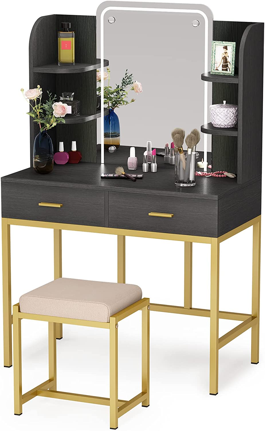 Vanity Set with LED Lighted Mirror and Cushioned Stool, Large Vanity Table Dressing Table Desk with Storage Shelves and 2 Drawers for Bedroom (Black)
