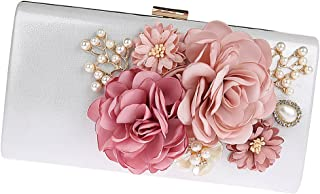 Baosity 1 Piece Lady Satin Clutch Bag With Rose Evening Wedding Party Bridal Handbag