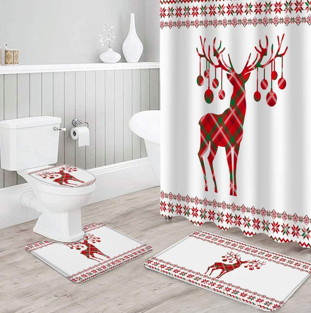Holiday Shower Curtain Limited time Oakland Mall trial price Set 4 Piece with Non-Slip Ru Bathroom for