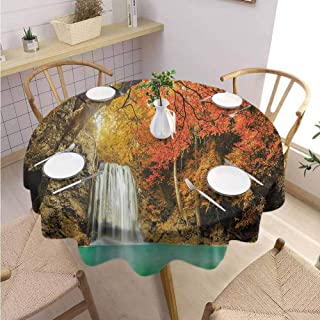 VICWOWONE Multifunctional Round Tablecloth Waterfall Machine Washable Majestic Waterfall Cascade in The Forest Flows Down Crystal Pure Habitat View,Round - 39 inch Orange Blue