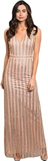 Imaginary Diva Women's Elegant Blush Nude Striped Silver Shimmer Fitted Long Dress Cocktail Party Gown