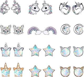 گوشواره گل میخ زیبا NEWITIN 12 جفت گوشواره ضد حساسیت گوشواره جواهرات براق گربه ستاره گل گوش پروانه تک شاخ ، گوشواره های عقیق سبک / گوشواره های چوبی / گوشواره های نقره ای 925 برای زنان و دختران