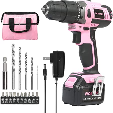 WORKPRO Pink Cordless 20V Lithium-ion Drill Driver Set, 1 Battery, Charger and Storage Bag Included - Pink Ribbon