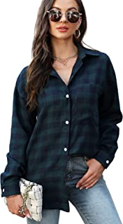 LOLLO VITA Women Plaid Shirts Blouse Flannel Shirt Button Down Oversized Boyfriend Tops
