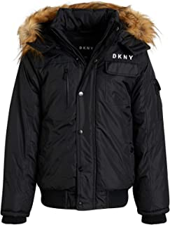 DKNY Boy's Outerwear - Winter Fleece Lined Parka Bomber Jacket with Removable Fur-Lined Sherpa Hood