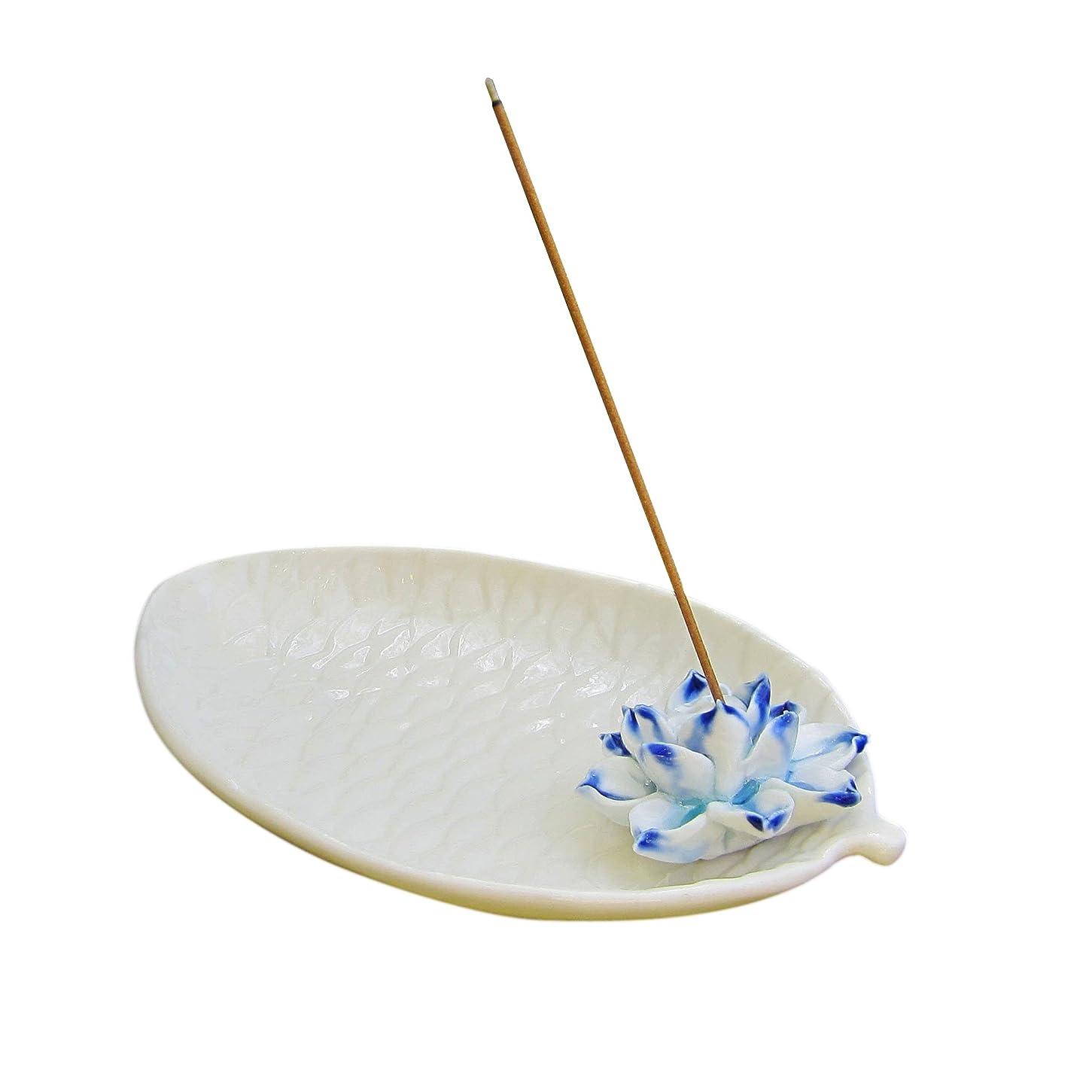 カニレギュラー居住者djiale Incense Stick Holderセラミック香炉with Ashキャッチャー Lotus ホワイト DjialeBurner05