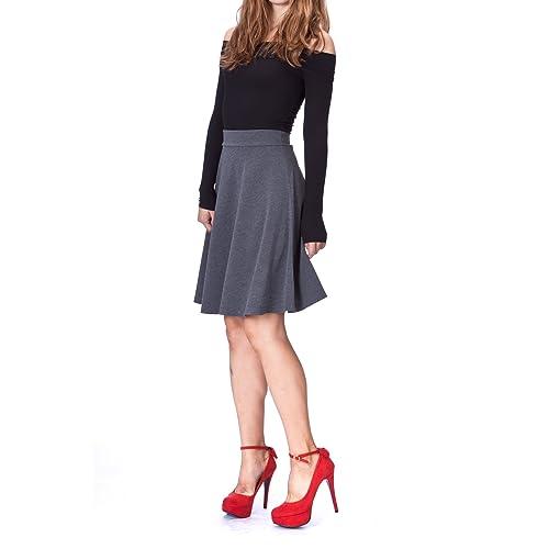 8d670a5a321e Dani's Choice Simple Stretch A-line Flared Knee Length Skirt