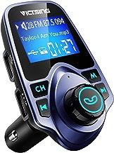 VicTsing Transmetteur FM Bluetooth Kit de Voiture sans Fil Mains-Libres Adaptateur Radio avec Chargeur Voiture Double Port USB et Audio 3,5mm Soutien Carte TF
