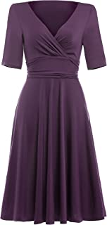 Belle Poque Women Casual Solid Color Short Sleeve V-Neck Party Swing Dress BP006