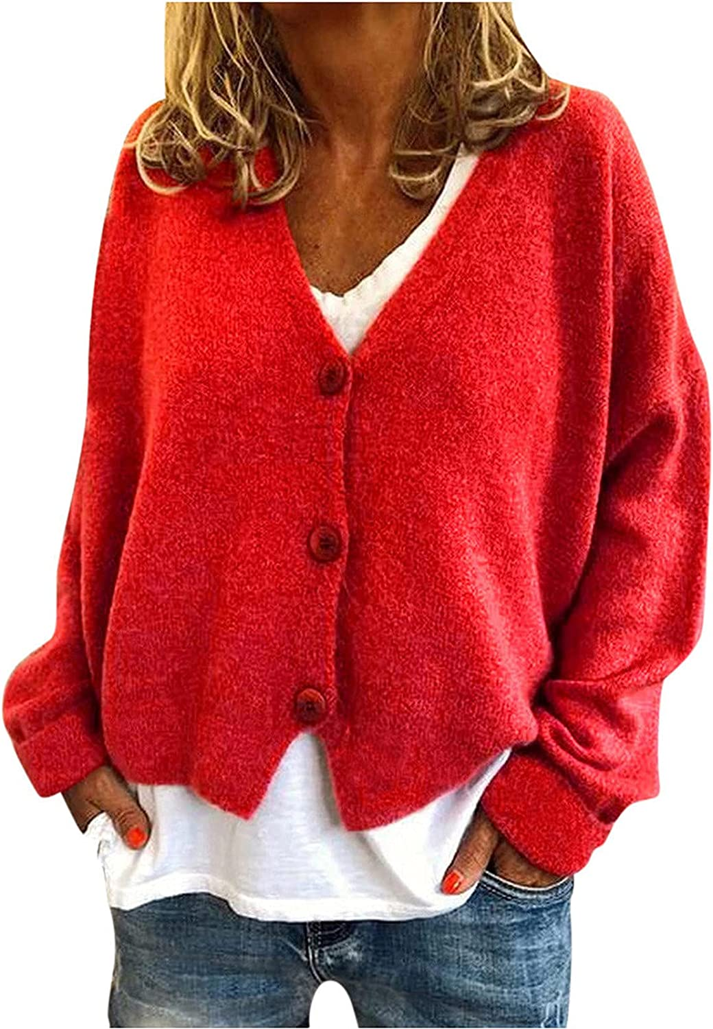 Fashion Cardigan for Womens Sweater Coat Long Sleeve Solid Color Button Autumn Fleece Casual Jacket Blouse Tops