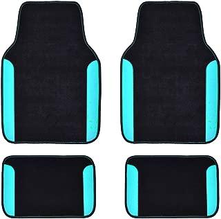 CAR PASS Rainbow Waterproof Universal Fit Car Floor Mats, Fit for SUV,Vans,sedans, Trucks,Set of 4(Black with Blue)