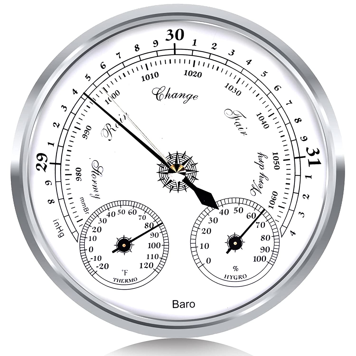 Outdoor Barometer Thermometer Hygrometer - 5in Barometer Weather Station , Barometer for Home Wall, Fishing Boat, Baby Room, Office