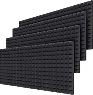 Akustikschaumstoff 24 Stück, Ohuhu Noppenschaumstoff, Akustik Schaumstoff Schall Dämmung, Dämmung für Tonstudio, Youtube room, Schallabsorbierende Dämpfungswand Schaumpyramide - 40,5 x 30,5 x 5 cm