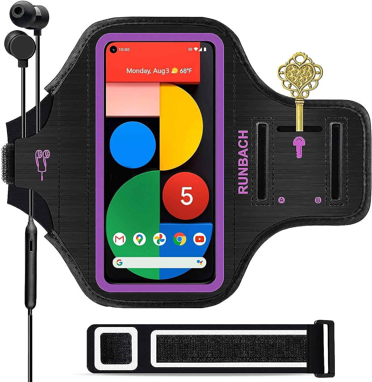 RUNBACH Running Armband for Samsung Galaxy A60/A51/A50/A32/A30/A20/A10E/A10/A9/A9 Pro/M11/M21/M31,Sweatproof Running Exercise Bag for Samsung Phone (Purple)
