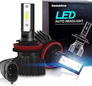 H11/H8/H9 LED Headlight Bulbs – Sampino Headlights All-in-One Conversion Kit 2Packs Low Beam/Fog Light Bulb 8000lm/set (4000lm per bulb) 5500K 12xCSP Chips Cool White